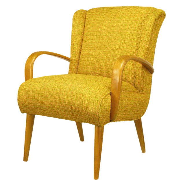 Image of Circa 1940s Maple Wood & Saffron Upholstered Lounge Chair