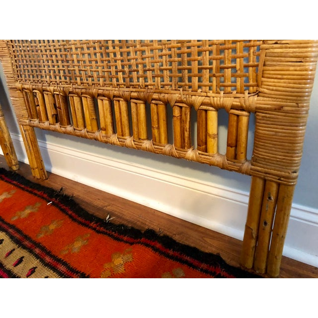 Vintage Mid-Century Arched Cane Rattan Twin Headboards - a Pair - Image 4 of 9