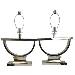 Chrome Modern U-Shaped Lamps - A Pair
