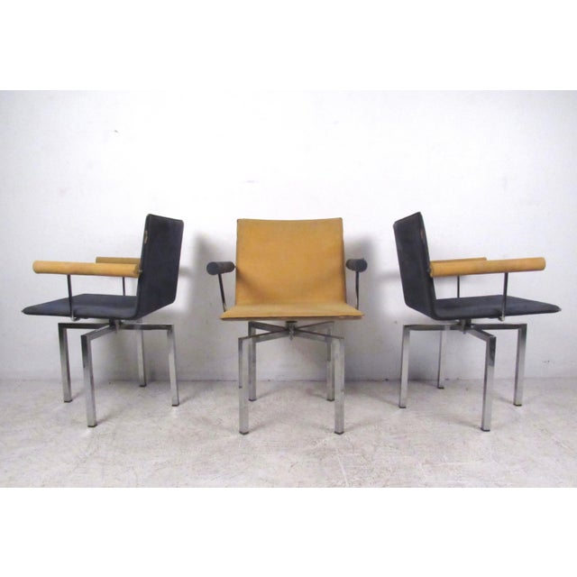 Modern Memphis Style Swivel Dining Chairs - Set of 6 - Image 4 of 11