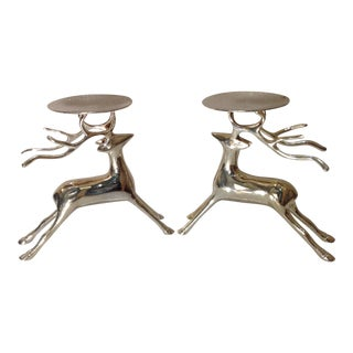 Vintage Silver Plate Reindeer Candle Holders - A Pair