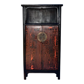 Antique Black/Orange Red Lacquer Cabinet