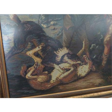 Thomas Gainsborough Style Shepherd Boy Fighting Dog Needlepoint Tapestry Art - Image 3 of 6