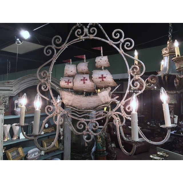 Mid-20th Century French Painted Iron 6-Light Sailboat Chandelier - Image 9 of 9