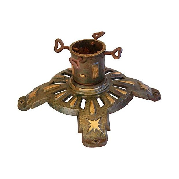 Image of Antique Cast Iron Flag /Christmas Tree Stand