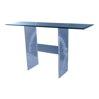 Vintage Mid Century Modern Clear Etched Lucite & Glass Console Table