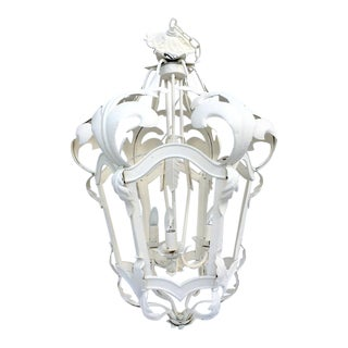 Venetian Style White Iron Three-Light Hanging Lantern Chandelier