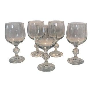 Vintage Crystal Wine Glasses - Set of 5