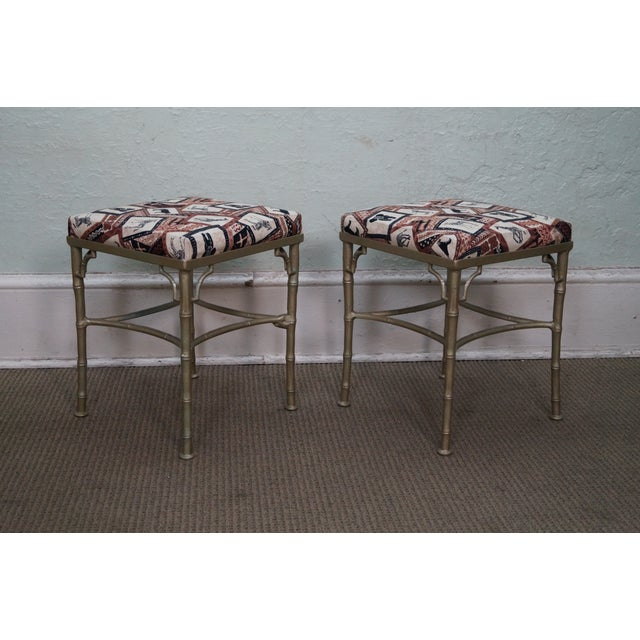 Vintage Faux Bamboo Metal Ottomans - A Pair - Image 2 of 10