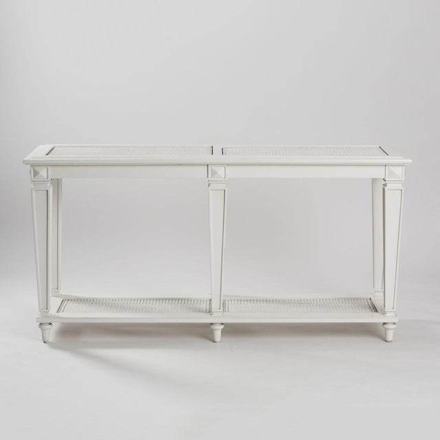 New White Caned Console Table - Image 2 of 5