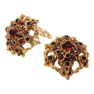 Florenza Gold Earrings with Brown & Black Stones