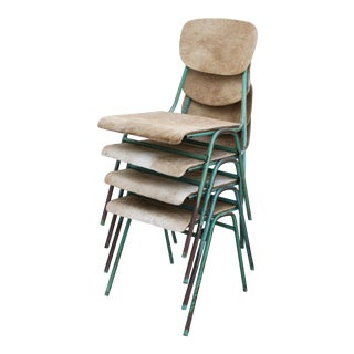 Vintage French Stacking Steel, Bentwood and Leather Schoolhouse Dining Chairs - Set of 4