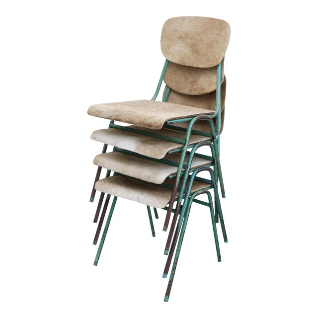 Vintage French Stacking Steel, Bentwood and Leather Schoolhouse Dining Chairs - Set of 4 - Image 1 of 11