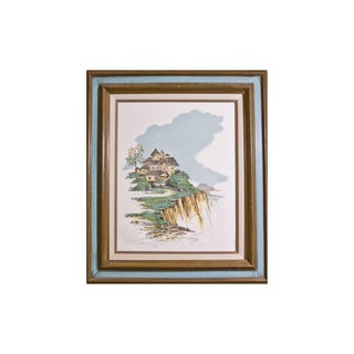 """Cliff Side"" House Lithograph"