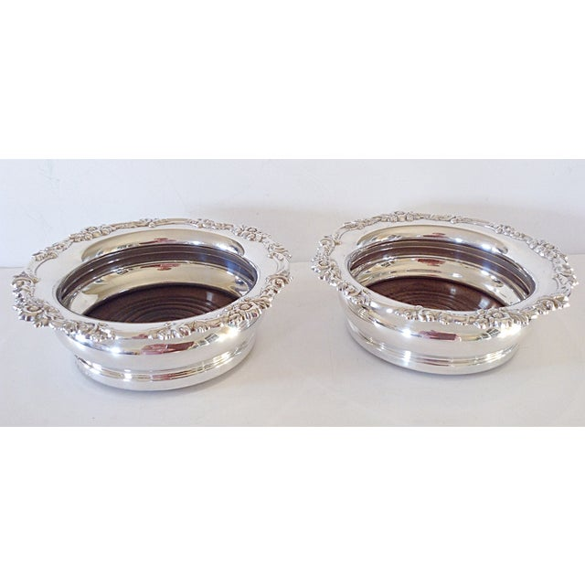 Image of English Silver Wine Coasters - Pair