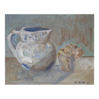 Porcelain Water Pitcher and Flowers Oil Painting