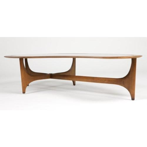 Lane Kidney-Shaped Walnut & Glass Coffee Table - Image 3 of 3