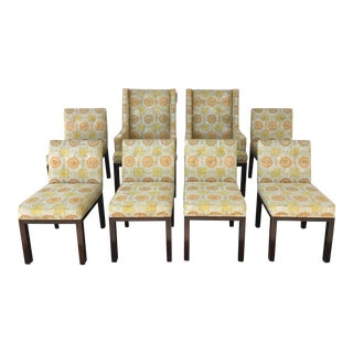 Upholstered Yellow & Orange Floral Dining Chairs - Set of 8