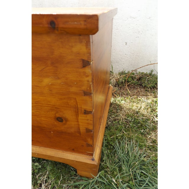 Primitive Antique Dovetailed Pine Hope Chest - Image 7 of 10