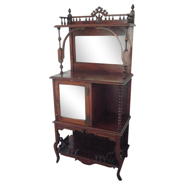 antique victorian mahogany etagere mirror shelves chairish. Black Bedroom Furniture Sets. Home Design Ideas
