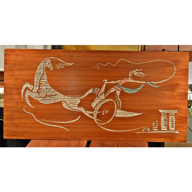 Mid Century Wood Wall Art - Female Chariot - Image 2 of 8