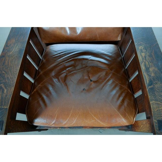 Warren Hile Studio Oak Morris Chair, Brown Leather - Image 5 of 10