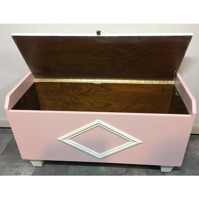 Image of Transitional White & Pink Chest & Mirror - A Pair
