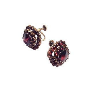 Vintage 1930s Regal Red Garnet Gemstone Earrings