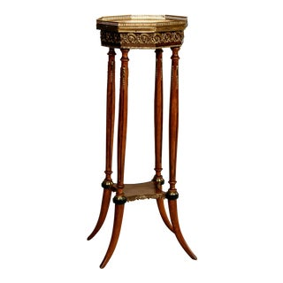 French Wood Marble Brass 2-Tier Plant Stand