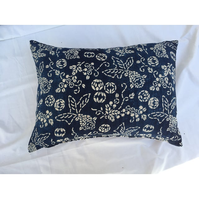 Indigo batik koi fish pillow chairish for Koi fish pillow