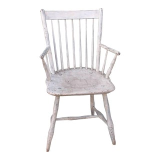 19th Century Original White Painted Windsor Armchair