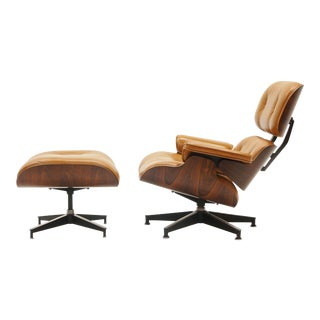 Eames Lounge Chair and Ottoman, Rosewood and Rare Cognac Leather