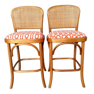 Bentwood & Cane Barstools - A Pair