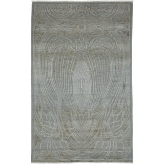 "Contemporary Hand Knotted Area Rug - 4'1"" X 6'4"""
