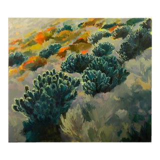 """Leucadendron Hillside"", Original Oil on Canvas, Jenny Parsons, South Africa, 2013"