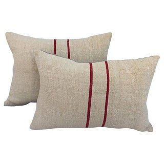 English Grain Sack Pillows - Pair
