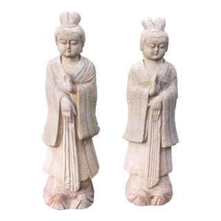 Antique Chinese Carved Granite Guanyin Statues - A Pair