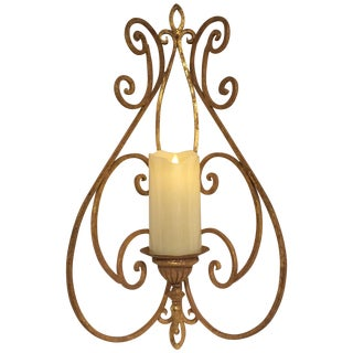 Antique Metal Gold Leaf Candle Sconce