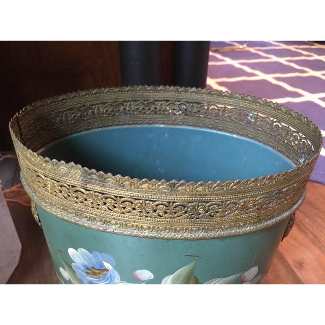 Image of Vintage Tole Waste Basket with Gold Metal Trim