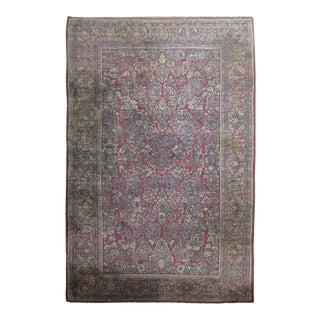 """Antique Red & Blue Persian Sarouk Rug - 10'4"""" x 20'6"""""""