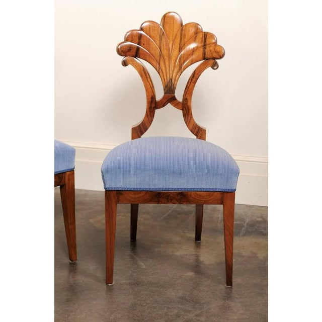 Pair of Austrian Biedermeier Fan Back Chairs with Light Blue Upholstery, 1840 - Image 4 of 10