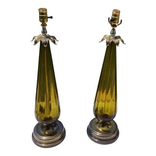 Mid-Century Emerald Green Lamps - A Pair