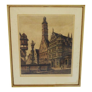 Ernst Geissendorfer Vintage Framed Hand Colored Etching