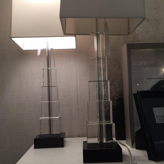 Skyscraper Crystal Lamps - Pair - Image 5 of 7