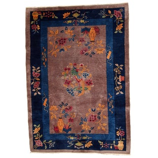 1920s Antique Chinese Art Deco Hand Made Rug - 4′ × 5′8″
