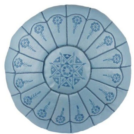 Light Blue Moroccan Leather Pouf - Image 1 of 3