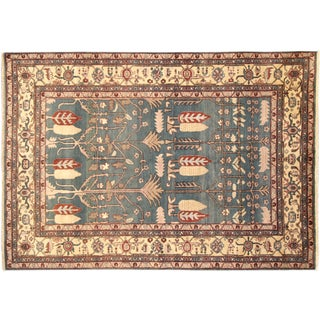"Hand-Knotted Floral Heriz Wool Rug - 6'3"" x 9'"