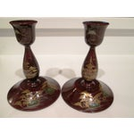 Image of 22k & Abalone Inlaid Candle Holders - Pair