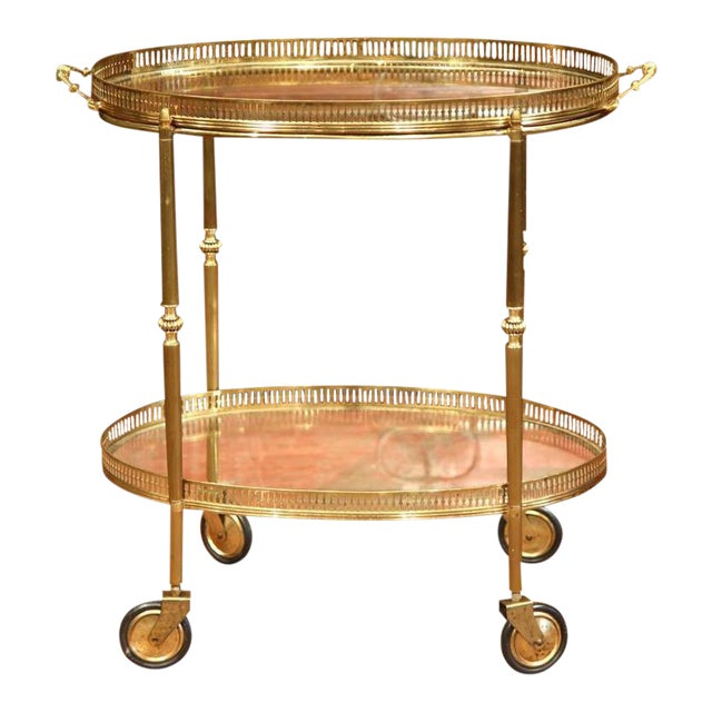 French Oval Brass Bar Cart on Wheels - Image 1 of 8