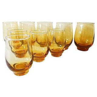 Mid-Century Libbey Amber Glasses - Set of 10